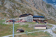 Restaurant and hikers hostel at the Stubaier Wildspitze is a 3,341-metre-high mountain in the Stubai Alps in the Austrian state of Tyrol. Northeast of the summit lie two glaciers, the Schaufelferner and the Daunkogelferner, which form the basis for the Stubai Glacier ski region.