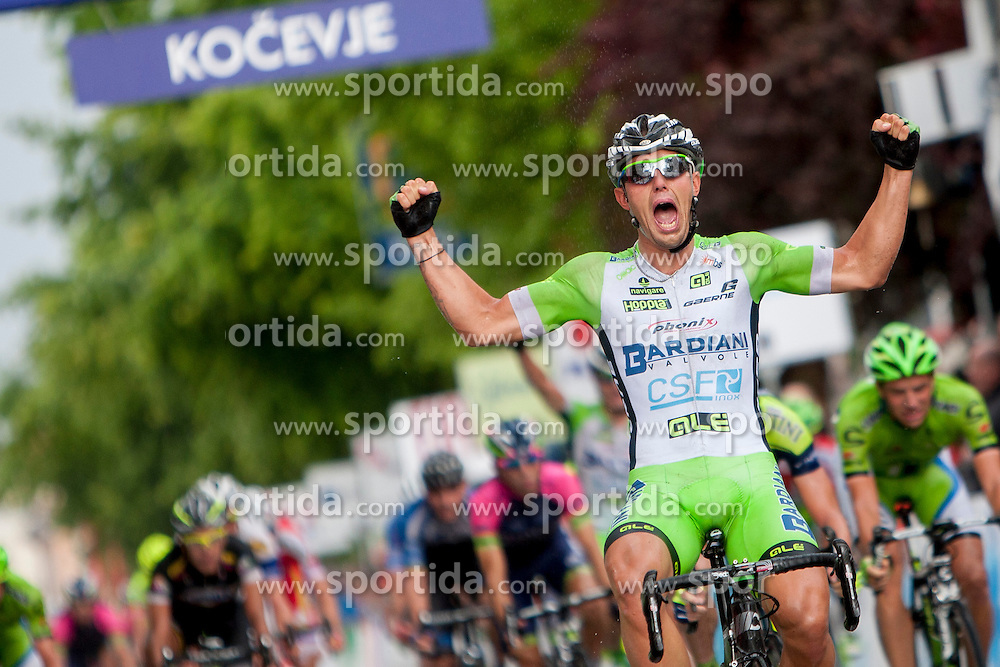 Winner Sonny Colbrelli of Bardiani CSF Inox celebrates during Stage 2 of 21st Tour of Slovenia 2014 - cycling race 160,7 km from Ribnica to Kocevje, on June 20, 2014 in Slovenia. Photo By Urban Urbanc / Sportida