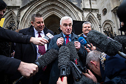 © Licensed to London News Pictures. 27/02/2020. London, UK. Shadow Chancellor John McDonnell speaks to the media outside the High Court after judges ruled that the planned expansion of Heathrow Airport was illegal over climate change. Photo credit: Rob Pinney/LNP