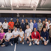 May 15, 2014, New Haven, Connecticut:<br /> Former professional tennis player James Blake poses with coaches  during a free tennis lesson and clinic Thursday, May 15, 2014 in advance of the 2014 New Haven Open at the Yale University Tennis Center in New Haven, Connecticut. <br /> (Photo by Billie Weiss/New Haven Open)