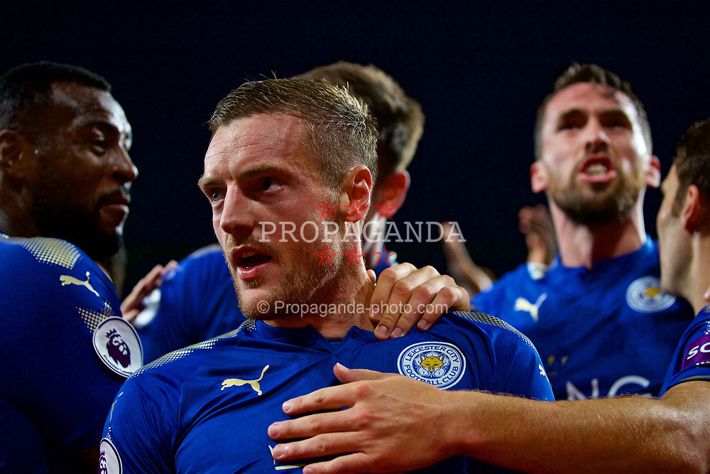 LONDON, ENGLAND - Friday, August 11, 2017: Leicester City's Jamie Vardy celebrates scoring the third goal during the FA Premier League match between Arsenal and Leicester City at the Emirates Stadium. (Pic by David Rawcliffe/Propaganda)