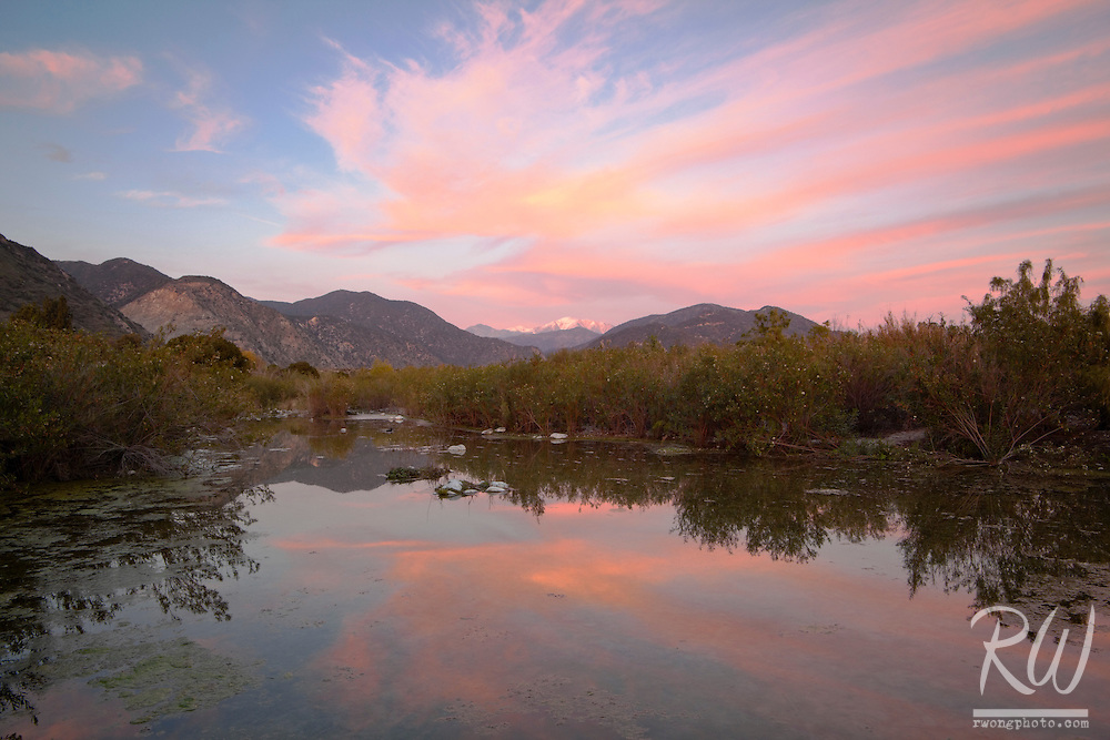 San Gabriel Mountains Sunset Alpenglow Reflection in Pond, San Gabriel Valley, California