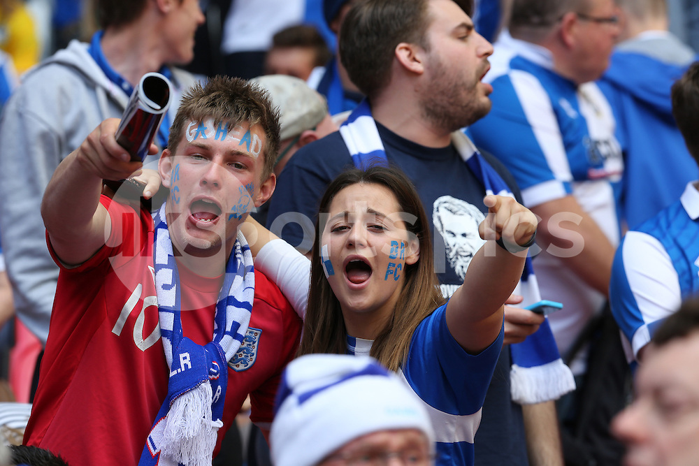 Rovers fans giving it large during the Vanarama Conference Play Off Final match between Bristol Rovers and Grimsby Town at Wembley Stadium, London, England on 17 May 2015. Photo by Dave Peters.