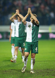 OSIJEK, CROATIA - Tuesday, October 16, 2012: Wales' David Vaughan applauds the travelling supporters after his side's 2-0 defeat by Croatia during the Brazil 2014 FIFA World Cup Qualifying Group A match at the Stadion Gradski Vrt. (Pic by David Rawcliffe/Propaganda)