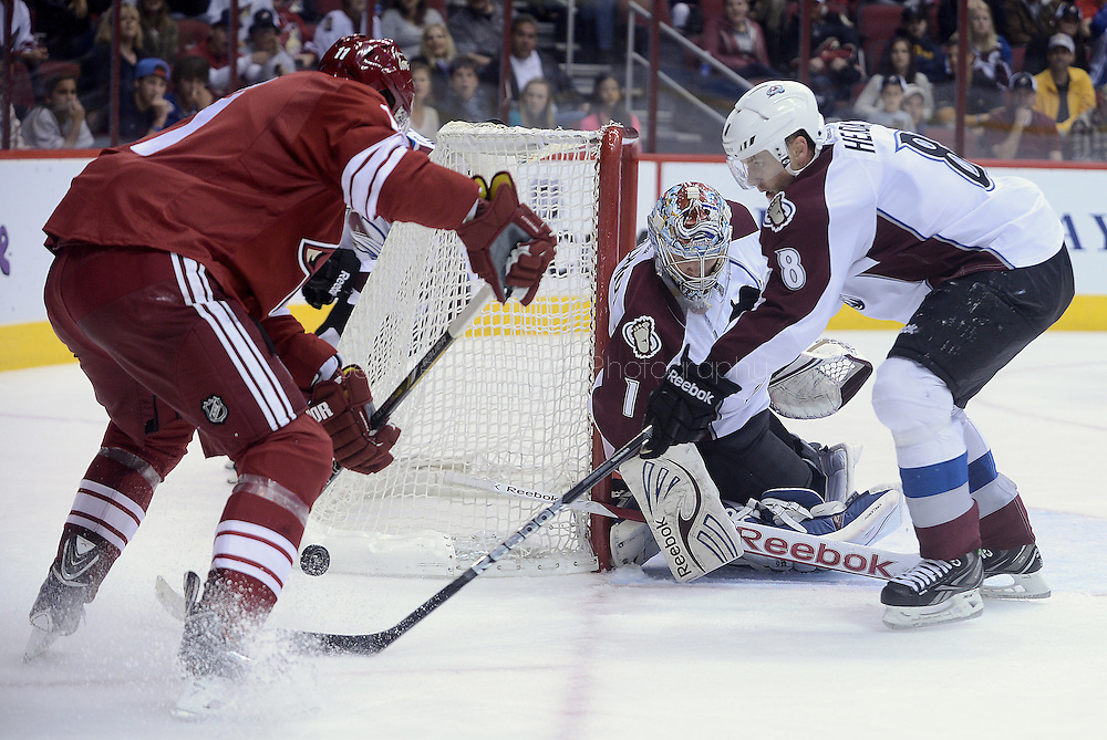 Apr. 6, 2013; Glendale, AZ, USA; Colorado Avalanche goalie Semyon Varlamov (1) watches as teammate defenseman Jan Hejda (8) blocks the puck from the Phoenix Coyotes center Martin Hanzal (11) in the second period at Jobing.com Arena. The Coyotes defeated the Avalanche 4-0.  Mandatory Credit: Jennifer Stewart-USA TODAY Sports