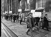 Protest By Great Southern Hotel Workers. (R50)..1987..05.02.1987..02.05.1987..5th February 1987..Hotel workers from Parknasilla and Killarney were amongst the I.T.G.W.U.Great Southern Hotels Group who protested at the Dept of Finance in Merrion Street, Dublin. The workers were protesting against the proposal to privatise the hotel chain and the effect that this would have on the employment of the 800 workers involved. Currently the hotel chain is under the control of Aer Rianta, a semi state company...Image shows a group of Great Southern Hotel employees protesting at the Department of Finanace against the proposed privatisation of the hotel chain.