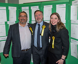 Pictured: New SNP MEP's Christian Allard, Alyn Smith, and Aileen McLeod at the declaration.<br /> <br /> Scotland's results in the European elections were announced at the City Chambers in Edinburgh.<br /> <br /> © Dave Johnston / EEm