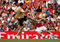 Photo: Richard Lane/Richard Lane Photography. Arsenal v Juventus. Emirates Cup. 02/08/2008. Arsenal's Jack Wilshere is challenged by Juventus' Mohamed Sissoko.