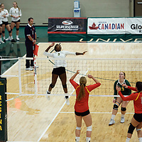 3rd year outside hitter Diana Lumbala (9) of the Regina Cougars in action during Women's Volleyball home opener on October 20 at Centre for Kinesiology, Health and Sport. Credit: Casey Marshall/Arthur Images