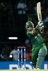 © Licensed to London News Pictures. 04/10/2012. Pakistani Mohammad Hafeez batting during the World T20 Cricket Mens Semi Final match between Sri Lanka Vs Pakistan at the R Premadasa International Cricket Stadium, Colombo. Photo credit : Asanka Brendon Ratnayake/LNP