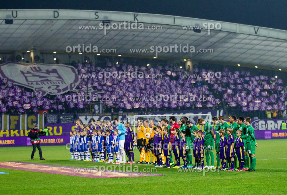 Players prior to the football match between NK Maribor and Wigan Athletic FC (ENG) in Round 6 of Group D of UEFA Europa League 2014, on December 12, 2013 in Stadion Ljudski vrt, Maribor, Slovenia. Maribor won against Wigan 2-1 and qualified to next Stage. Photo by Vid Ponikvar / Sportida