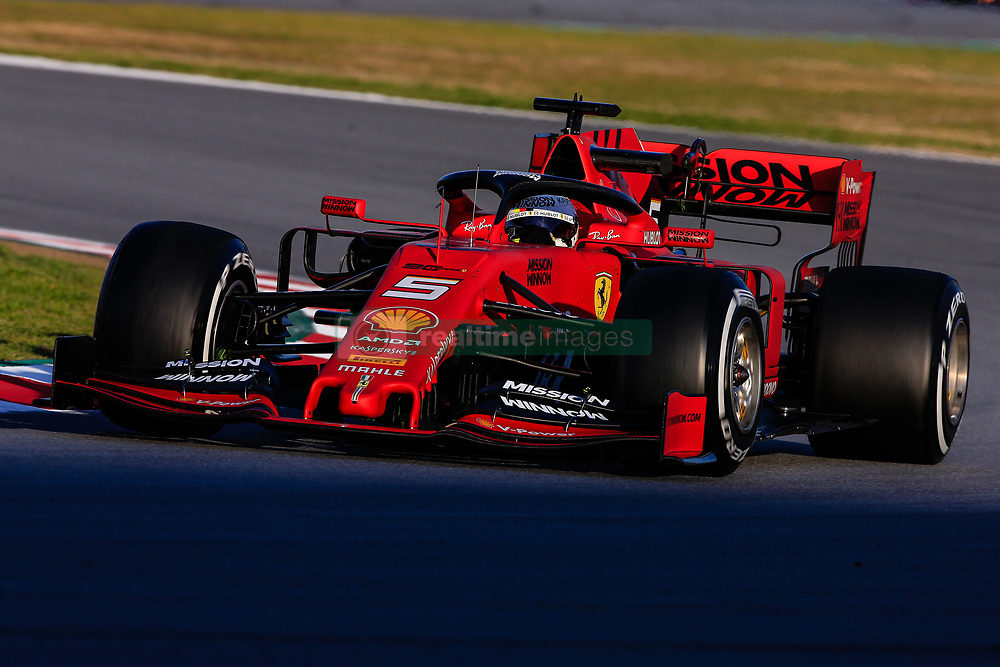 February 18, 2019 - Montmelo, BARCELONA, Spain - Sebastian Vettel from Germany with 05 Scuderia Ferrari Mission Winnow SF90 in action during the Formula 1 2019 Pre-Season Tests at Circuit de Barcelona - Catalunya in Montmelo, Spain on February 18. (Credit Image: © AFP7 via ZUMA Wire)