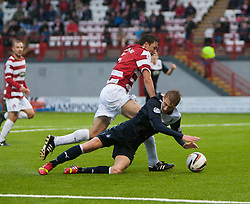 Falkirk's Jay Fulton goes down in the box after the tackle from Hamilton's Martin Canning, and gets a yellow card for diving.<br /> Hamilton 2 v 0 Falkirk, Scottish Championship played today at New Douglas Park.<br /> &copy;Michael Schofield.