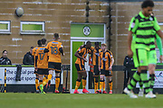 Cambridge United's Medy Elito(21) scores a goal 1-2 and celebrates during the EFL Sky Bet League 2 match between Forest Green Rovers and Cambridge United at the New Lawn, Forest Green, United Kingdom on 20 January 2018. Photo by Shane Healey.