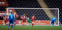 WIDNES, ENGLAND - Wednesday, February 7, 2018: Liverpool's goalkeeper Rebecca Flaherty saves a penalty kick from Arsenal Ladies' Vivianne Miedema, put can't prevent the rebound, during the FA Women's Super League 1 match between Liverpool Ladies FC and Arsenal Ladies FC at the Halton Stadium. (Pic by David Rawcliffe/Propaganda)