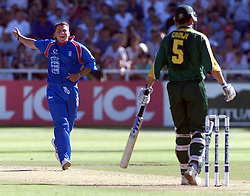England bowler Darren Gough celebrates dismissing South African Hansie Cronje, during the second one day international at the Newlands Cricket ground, Cape Town.