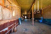 Gym equipment at the IOOF Hall, Bodie State Historic Park, California USA