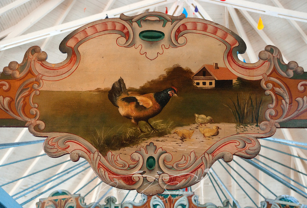 A pastoral painting adorns the Dentzel Carousel on Jan. 15, 2011 in Meridian, Miss. The carousel, which was built in 1896, is hand-carved and painted and is listed on the National Register of Historic Places. It is one of only 11 carousels nationwide to be named a National Landmark, and it is located in the only carousel building that remains from Dentzel's original blueprint. The carousel is open on Saturdays from 1 p.m. to 5 p.m. through March. Rides are 50 cents per person. (Photo by Carmen K. Sisson/Cloudybright)