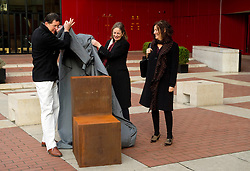 © Licensed to London News Pictures. 13/12/11 London, UK. .Sculptor Antony Gormley, British Library chairman, Tessa Blackstone and English PEN chairman Gillian Slovo unveil his new work, 'Witness' outside The British Library, London. The piece was commissioned by English PEN to mark it's 90th anniversary and is cast in iron depicting an empty chair to represent writers around the world..Photo credit : Simon Jacobs/LNP