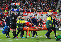 Britt Assombalonga and Middlesbrough manager Tony Pulis look concerned as Patrick Bamford is stretchered off  - Mandatory by-line: Matt McNulty/JMP - 14/04/2018 - FOOTBALL - Riverside Stadium - Middlesbrough, England - Middlesbrough v Bristol City - Sky Bet Championship