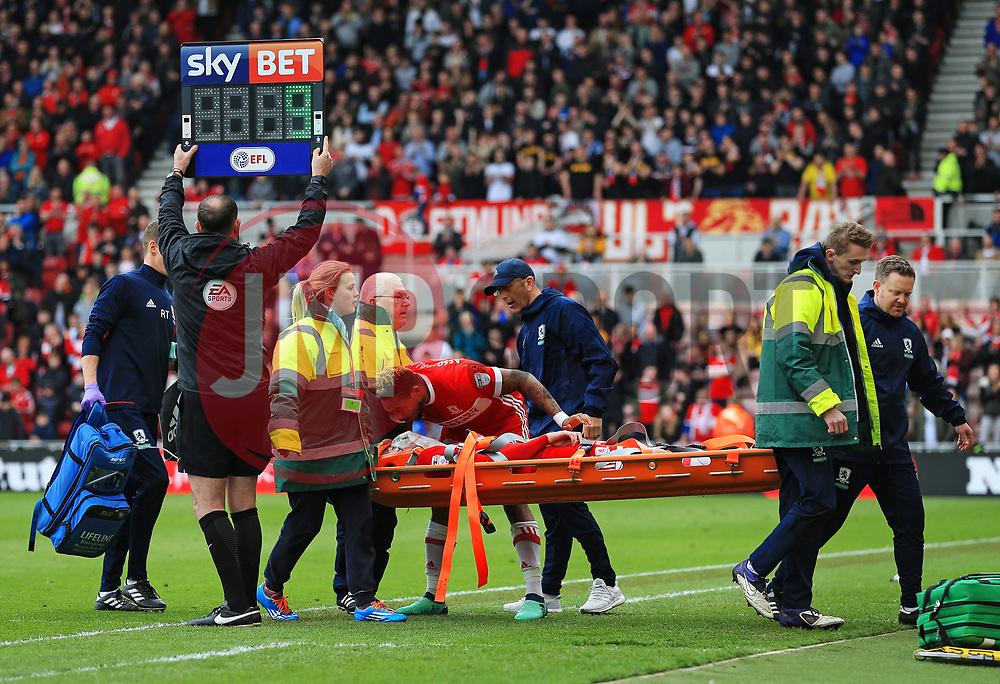 Britt Assombalonga and Middlesbrough manager Tony Pulis look concerned as Patrick Bamford is stretchered off  - Mandatory by-line: Matt McNulty/JMP - 14/04/2018 - FOOTBALL - Riverside Stadium - Middlesbrough, England - Middlesbrough v Bristol City - Sky Bet Championship