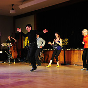 """Josh Hilberman, Brenda Bufalino,  Demi Remick, Ayan Imai-Hall, and The Paul Arslanian Trio perform in the show """"Ring in the Rhythm! A Jazz & Tap Holiday"""" at The Dance Hall in Kittery, ME"""