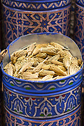 Assorted spice stand, aromatic herbs and dried flower natural perfumes, Marrakesh, Morocco, North Africa, 2016–04-19.