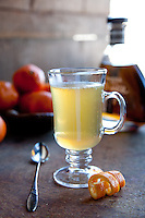 A hot toddy made with tequila, Grand Marnier, agave nectar and clementine juice.  A hot toddy is often used as a remedy for the common cold and sore throats.