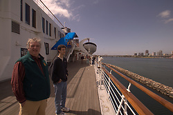 Bill and Pete Greeley on the deck of The Queen Mary in Long Beach California.