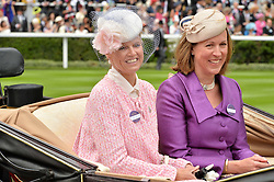 Left to right, VISCOUNTESS PETERSHAM and the DUCHESS OF ARGYLL at day one of the Royal Ascot 2016 Racing Festival at Ascot Racecourse, Berkshire on 14th June 2016.