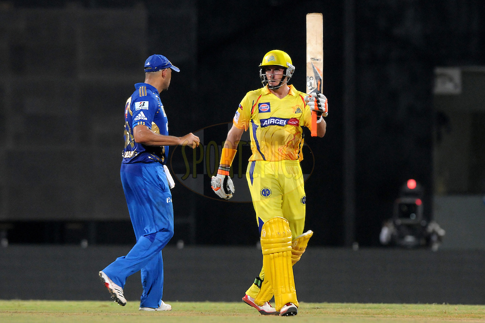 Michael hussey of Chennai Super Kings celebrates after hitting a half century during match 3 of the NOKIA Champions League T20 ( CLT20 )between the Chennai Superkings and the Mumbai Indians held at the M. A. Chidambaram Stadium in Chennai , Tamil Nadu, India on the 24th September 2011..Photo by Pal Pillai/BCCI/SPORTZPICS