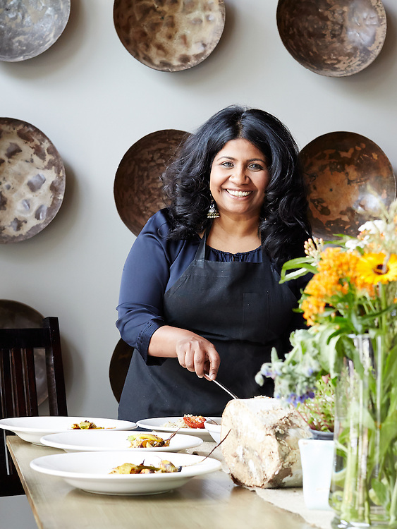 Chef Asha Gomez of Atlanta's wildly popular Cardamom Hill restaurant.