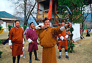 Archers competing at archery festival in Paro, Bhutan