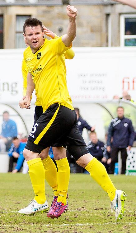 Raith Rovers v Livingston Scottish Championship 25 April 2015; Callum Fordyce (Livingston, 5) celebrates his goal during the Raith Rovers v Livingston Scottish Championship match played at Stark's Park, Kirkcaldy;