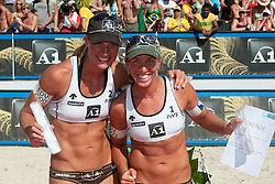 Fourth place for Sara Montagnolli and Barbara Hansel of Austria at A1 Beach Volleyball Grand Slam tournament of Swatch FIVB World Tour 2010, final, on July 31, 2010 in Klagenfurt, Austria. (Photo by Matic Klansek Velej / Sportida)