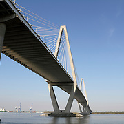 The Arthur J. Ravenel, Jr. Bridge spans the Cooper River and connects Charleston and Mount Pleasant, SC, USA. Reaching 1546 feet, the bridge, which opened in 2005, is North America's longest cable stay span.