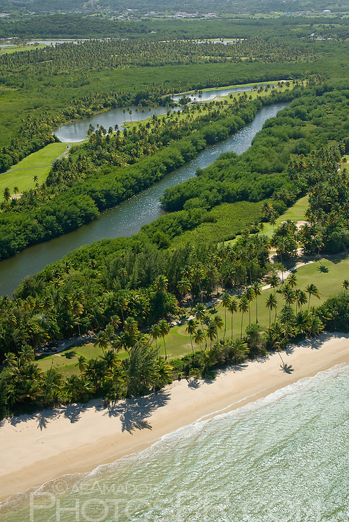 Aerial view of golf course and beach