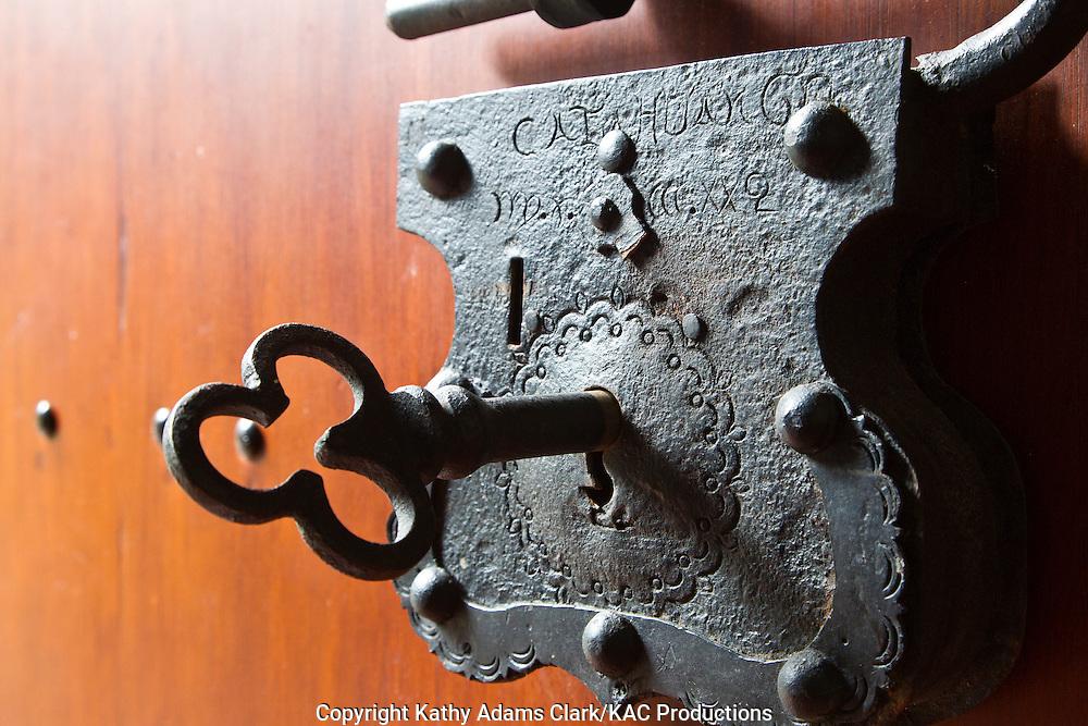 Lock, on the front door of the Hosteria Hacienda Pinsaqui, an historic hacienda dating back to 1790  in Otavalo, northern Ecuador
