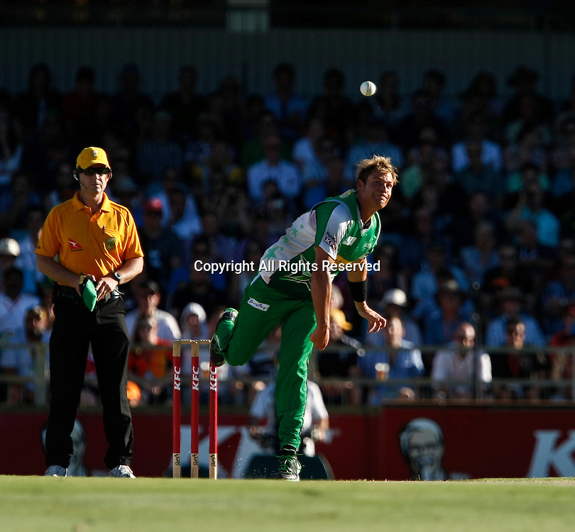 21.01.2012. Perth Australia. Big Bash Cricket.  Shane Warne bowls in the Semi Final between the Perth Scorchers and Melbourne Stars.
