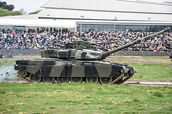 "An FV4201 Chieftain main battle tank of the United Kingdom during the 1960s, 1970s and 1980s, drives around the tank course at the Tank Museum in Bovington, Dorset, as the attraction hosts ""Tiger Day"" to mark the 75th anniversary of the world's only working Tiger Tank's capture in 1943 in the Tunisian desert."
