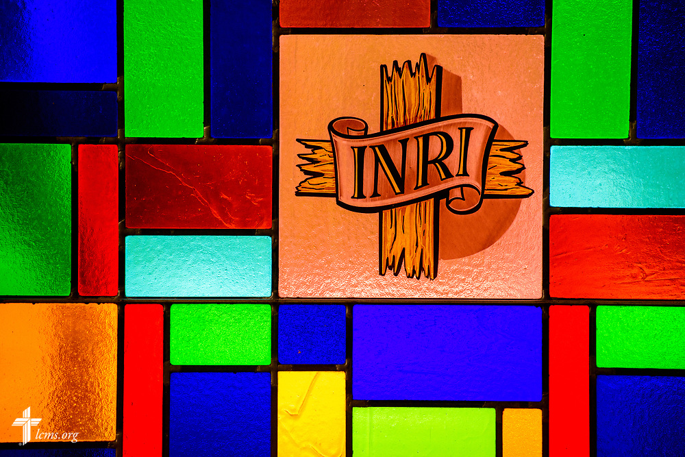 "Stained glass depicting INRI ""The King of the Jews"" at Zion Lutheran Church, Worms, Neb., on Saturday, Sept. 23, 2017. LCMS Communications/Erik M. Lunsford"