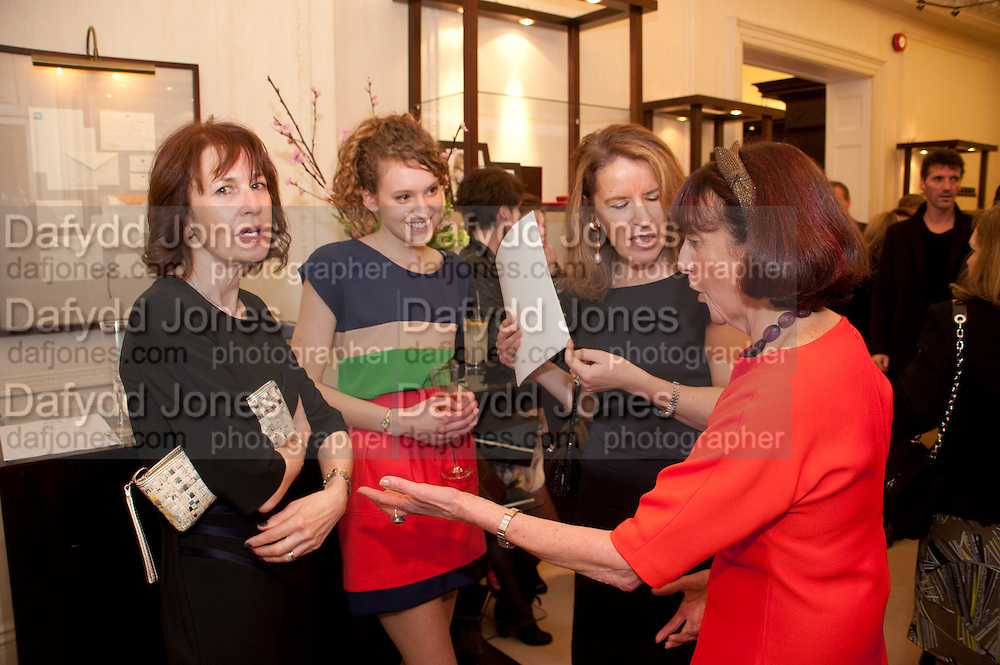 ZOE ROSS; VERONICA WADLEY; JANICE BLACKBURN, Smythson Royal Wedding exhibition preview. Smythson together with Janice Blackburn has commisioned 5 artist designers to create their own interpretations of  Royal wedding memorabilia. Smythson. New Bond St. London. 5 April 2011.  -DO NOT ARCHIVE-© Copyright Photograph by Dafydd Jones. 248 Clapham Rd. London SW9 0PZ. Tel 0207 820 0771. www.dafjones.com.