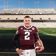 "Texas A&M quarterback and Heisman Trophy frontrunner Johnny Manziel, known to college football fans as ""Johnny Football"" photographed at Kyle Field in College Station, Texas on November 29, 2012.  © 2012 Robert Seale"