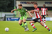 Forest Green Rovers Kyle Taylor(28),on loan from Bournemouth on the ball  during the EFL Trophy match between Forest Green Rovers and U21 Southampton at the New Lawn, Forest Green, United Kingdom on 3 September 2019.