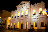 The beautiful old Holy House of Mercy sits on Senado Square in  historic Macau.