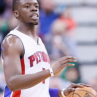 25 January 2016: Detroit Pistons guard Reggie Jackson (1) brings the ball up court during the Detroit Pistons 95-92 victory over the Utah Jazz, at the Vivint Smart Home Arena, Salt Lake City, Utah, USA.