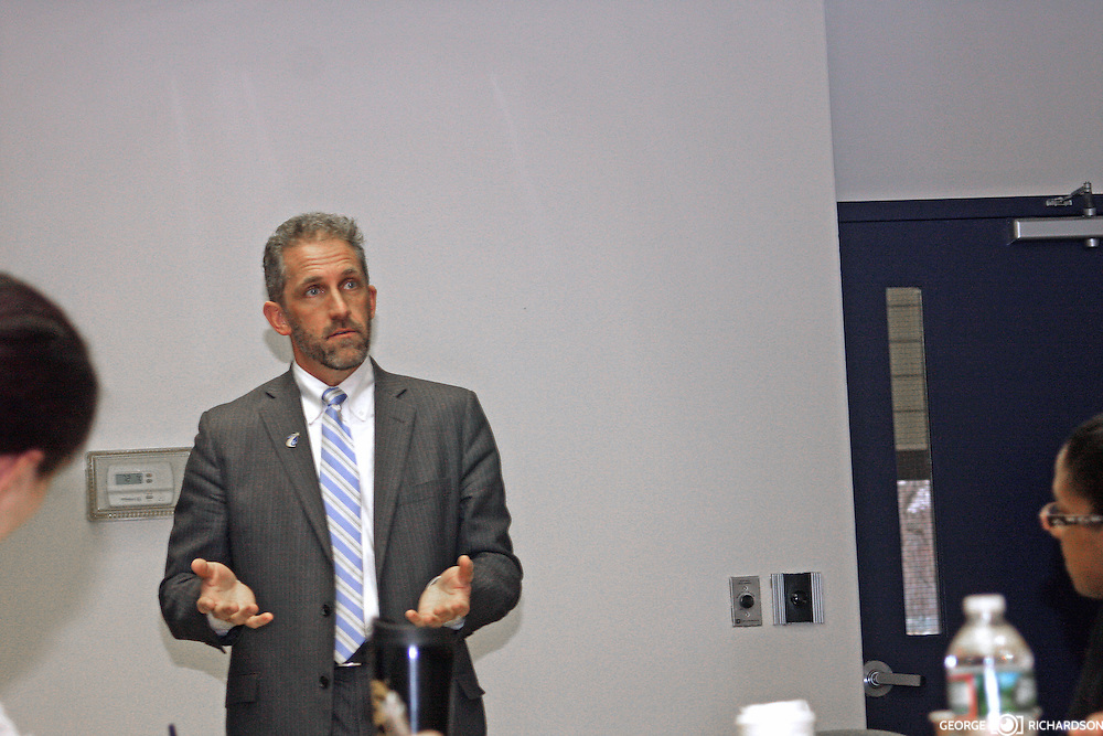 Lawrence, MA, 02/03/2016 Dr. Carlos Santiago, the Massachusetts commissioner of Higher Education, during his visit to Northern Essex Community College, Lawrence.<br />