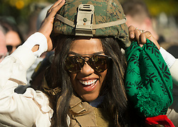 December 21, 2017 - Sevilla, Spain - WWE Superstar Alicia Fox meets with Marines assigned to Special Purpose Marine Air-Ground Task Force Crisis Response Africa as part of a troop engagement during the Chairmans USO Holiday Tour at Moon Air Base Dec. 21, 2017. .(Credit Image: