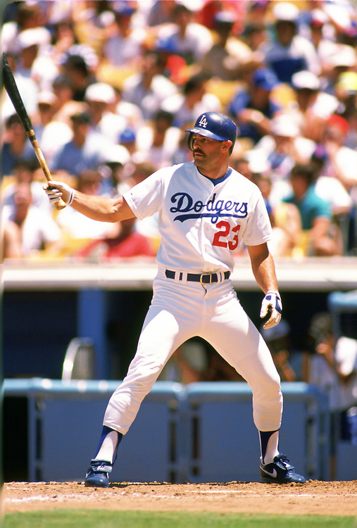 LOS ANGELES - 1989:  Kirk Gibson of the Los Angeles Dodgers bats during an MLB game at Dodger Stadium in Los Angeles, California during the 1989 season.  (Photo by Ron Vesely).  Subject:   Kirk Gibson
