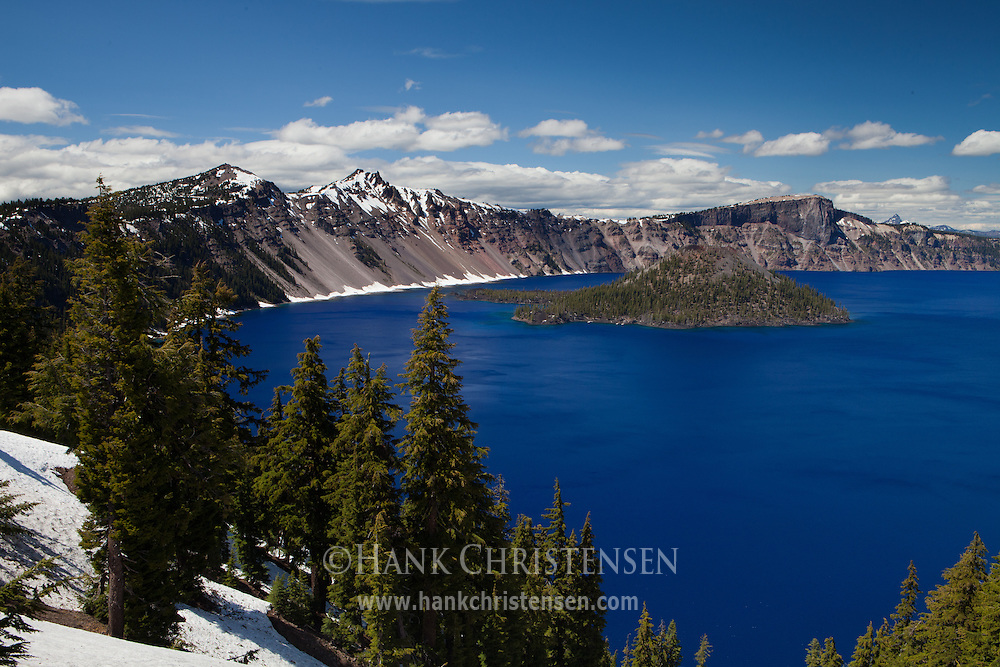Wizard Island sits just off the rim around Crater Lake, Crater Lake National Park, Oregon